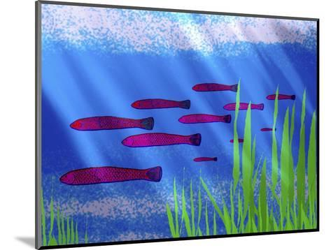 Purple Fish in Calm Blue Water with Seagrass-Rich LaPenna-Mounted Giclee Print