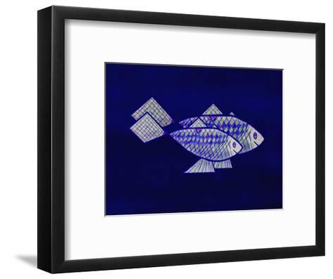 Two Blue and Green Happy Fish-Rich LaPenna-Framed Art Print