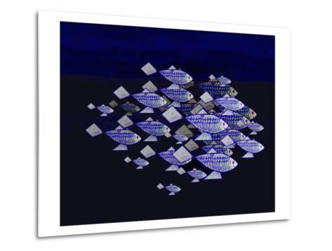 Blue School of Fish-Rich LaPenna-Metal Print