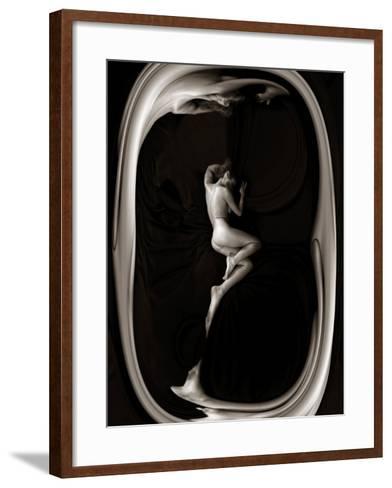 Female Nude Sleeping on Black Background in Oval Frame-Winfred Evers-Framed Art Print