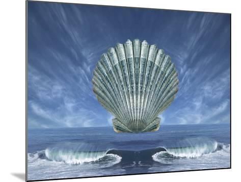 Shell Floating Above Ocean Tide with Blue Sky-Diane Miller-Mounted Photographic Print