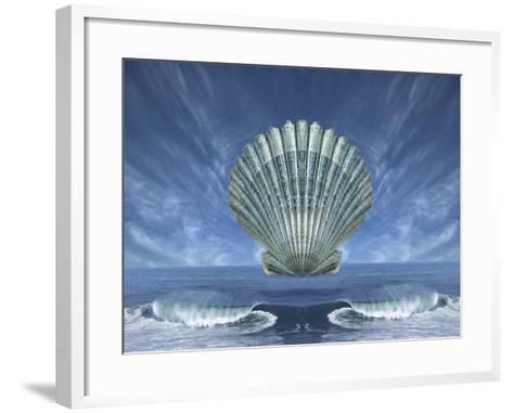 Shell Floating Above Ocean Tide with Blue Sky-Diane Miller-Framed Art Print