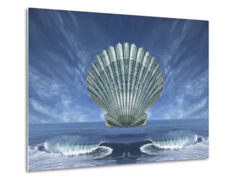 Shell Floating Above Ocean Tide with Blue Sky-Diane Miller-Metal Print