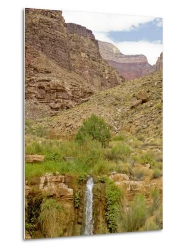 Waterfall Flows Through a Desert-David Edwards-Metal Print