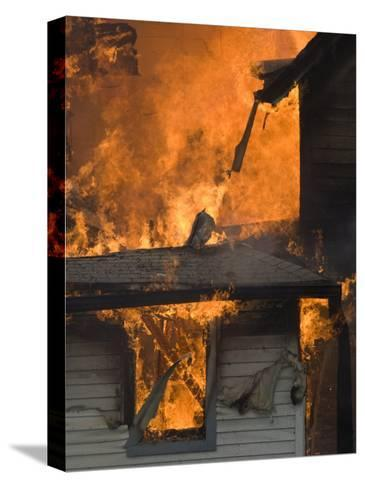 Local Fire Fighters Use a Controlled Burning of a House for Practice-Joel Sartore-Stretched Canvas Print
