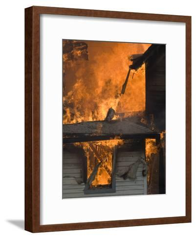Local Fire Fighters Use a Controlled Burning of a House for Practice-Joel Sartore-Framed Art Print