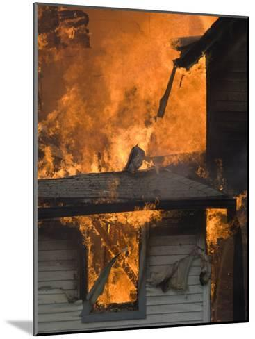 Local Fire Fighters Use a Controlled Burning of a House for Practice-Joel Sartore-Mounted Photographic Print