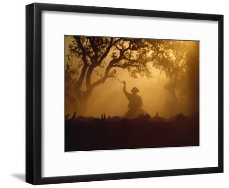 Cowboy and Cattle Silhouetted Against the Setting Sun-Joel Sartore-Framed Art Print