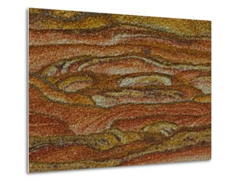 Close-up Detail of Iron Oxide Patterns in Sandstone-John Cancalosi-Metal Print
