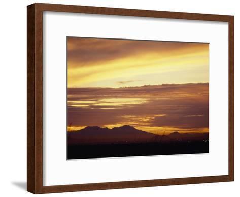 Sun Sets Behind Mountains in Arizona-xPacifica-Framed Art Print