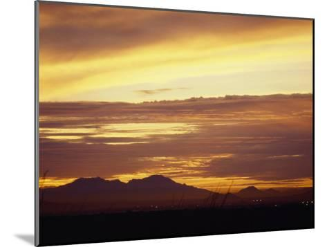 Sun Sets Behind Mountains in Arizona-xPacifica-Mounted Photographic Print