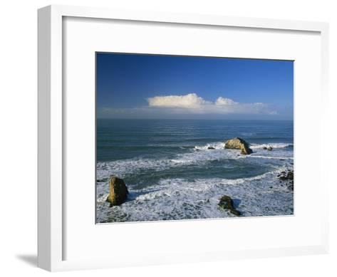 Clouds over the Pacific Ocean and Surf Spilling onto Shell Beach-Marc Moritsch-Framed Art Print