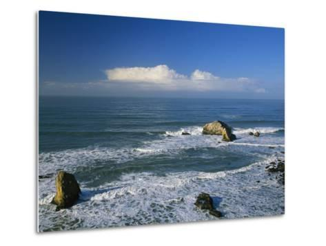 Clouds over the Pacific Ocean and Surf Spilling onto Shell Beach-Marc Moritsch-Metal Print