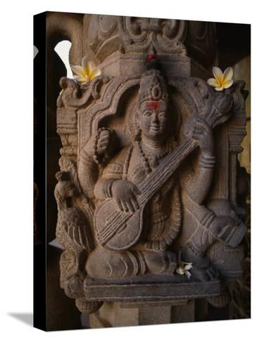 Stone Carving of the Goddess Saraswati-Martin Gray-Stretched Canvas Print