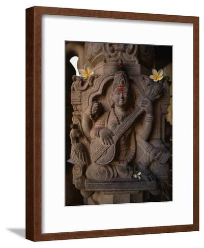 Stone Carving of the Goddess Saraswati-Martin Gray-Framed Art Print