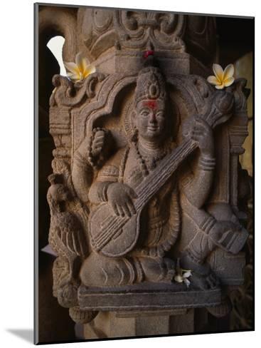 Stone Carving of the Goddess Saraswati-Martin Gray-Mounted Photographic Print