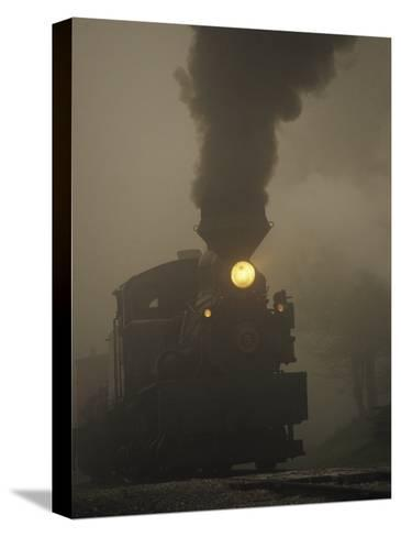 Steam Locomotive Belching Smoke on a Foggy Morning-Raymond Gehman-Stretched Canvas Print