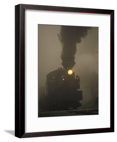 Steam Locomotive Belching Smoke on a Foggy Morning-Raymond Gehman-Framed Art Print