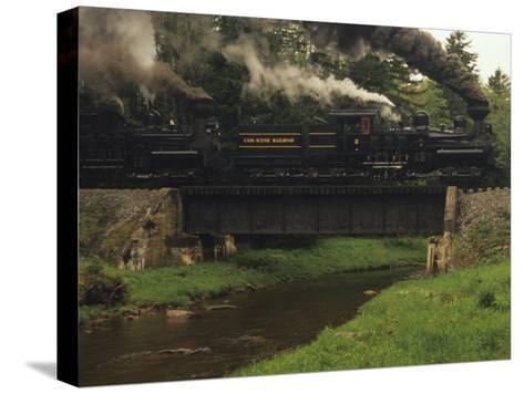 Cass Scenic Railroad Train Crossing a Bridge over a Stream-Raymond Gehman-Stretched Canvas Print