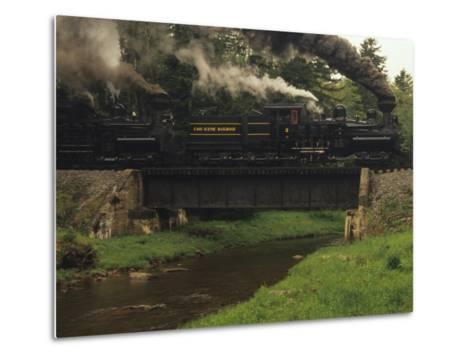 Cass Scenic Railroad Train Crossing a Bridge over a Stream-Raymond Gehman-Metal Print