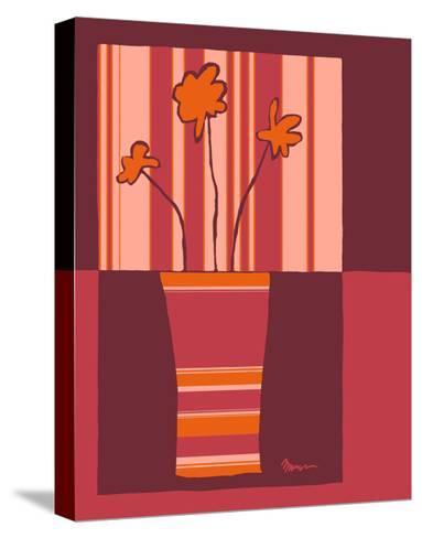 Minimalist Flowers in Orange IV- Goldberger & Archie-Stretched Canvas Print