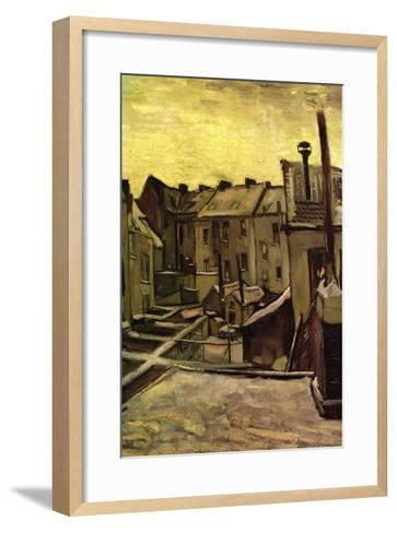 Backyards of Old Houses In Antwerp In The Snow-Vincent van Gogh-Framed Art Print