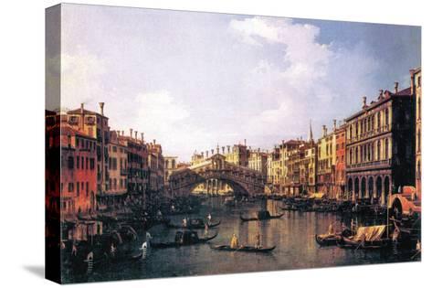 The Rialto Bridge-Canaletto-Stretched Canvas Print