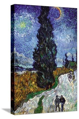 Country Road In Provence By Night-Vincent van Gogh-Stretched Canvas Print