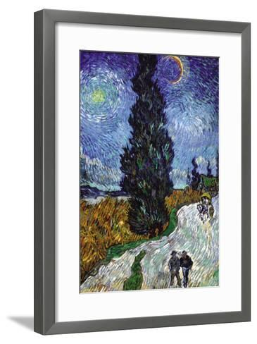 Country Road In Provence By Night-Vincent van Gogh-Framed Art Print