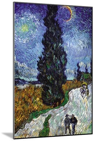 Country Road In Provence By Night-Vincent van Gogh-Mounted Art Print
