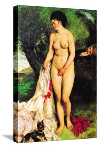 Bather with a Terrier-Pierre-Auguste Renoir-Stretched Canvas Print