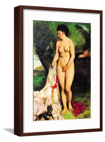 Bather with a Terrier-Pierre-Auguste Renoir-Framed Art Print