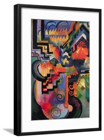 Colored Composition (Homage � Sebastian Johann Bach)-Auguste Macke-Framed Art Print