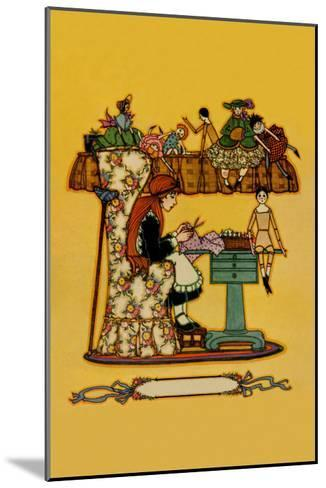 Young Girl Cuts Patterns For a Collection of Dolls--Mounted Art Print
