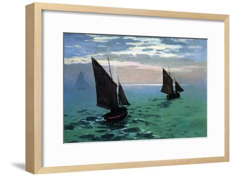 Le Havre - Exit The Fishing Boats From The Port-Claude Monet-Framed Art Print