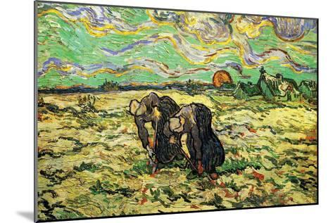 Two Peasant Women Digging In Field with Snow-Vincent van Gogh-Mounted Art Print