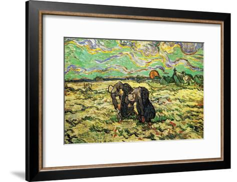 Two Peasant Women Digging In Field with Snow-Vincent van Gogh-Framed Art Print