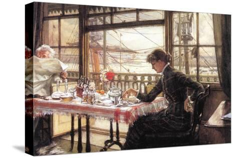 Room with a Glance From The Port-James Tissot-Stretched Canvas Print