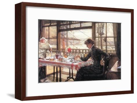 Room with a Glance From The Port-James Tissot-Framed Art Print