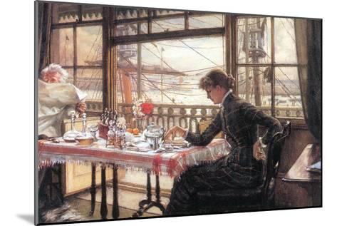 Room with a Glance From The Port-James Tissot-Mounted Art Print
