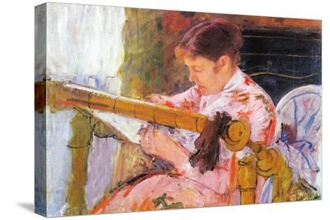 Lydia At The Cord Framework-Mary Cassatt-Stretched Canvas Print