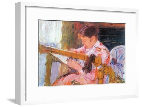 Lydia At The Cord Framework-Mary Cassatt-Framed Art Print