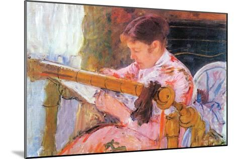 Lydia At The Cord Framework-Mary Cassatt-Mounted Art Print