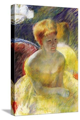 Lydia, The Arms Rested, In The Theater Loge-Mary Cassatt-Stretched Canvas Print