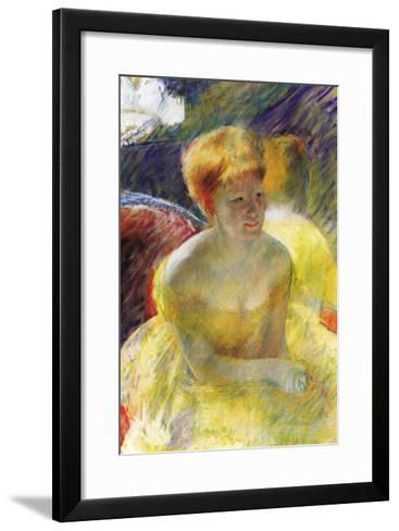 Lydia, The Arms Rested, In The Theater Loge-Mary Cassatt-Framed Art Print