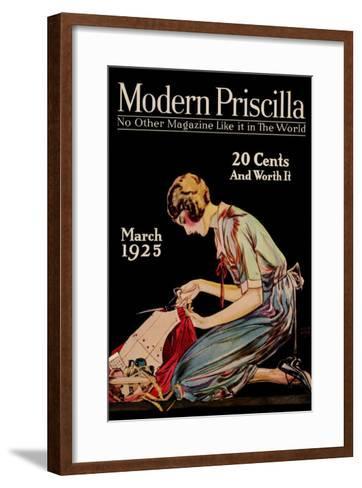 Woman Cuts a Dress Patter with Her Scissors--Framed Art Print