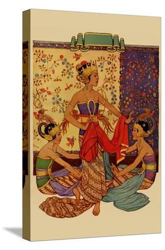 Javanese Girls Examne Fabric--Stretched Canvas Print