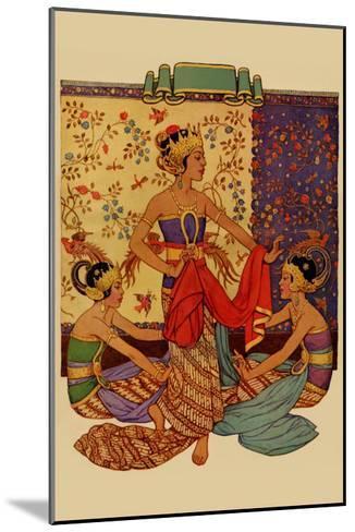 Javanese Girls Examne Fabric--Mounted Art Print