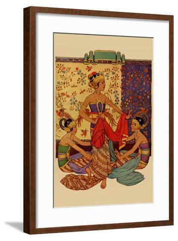 Javanese Girls Examne Fabric--Framed Art Print