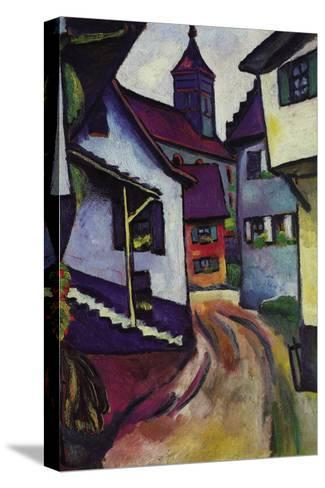 Street with a Church In Kinder-Auguste Macke-Stretched Canvas Print